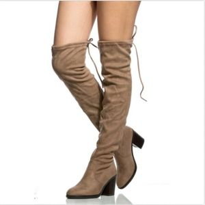 Thigh High Drawstring Faux Suede Chunky Boot SZ6